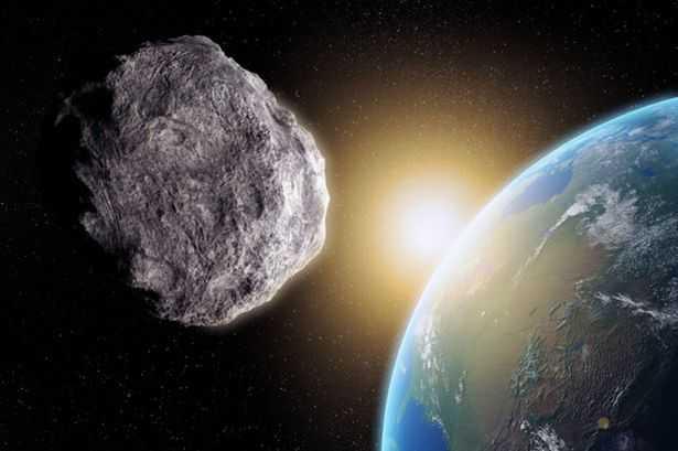 Bild som visar hur det kan se ut om det funnits en fotograf i rymden som tagit en bild på en asteroid som rusar förbi jorden.