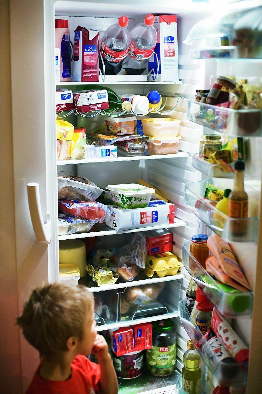 Nilo kikar in i familjens välfyllda kylskåp. Barnen dricker tio liter mjölk i veckan och det går åt massor med mat.