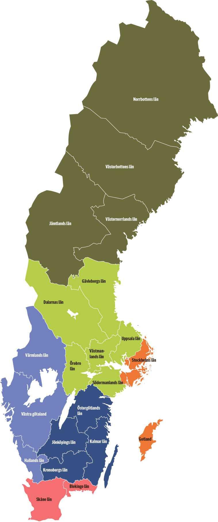 Förslaget på de nya storregionerna.