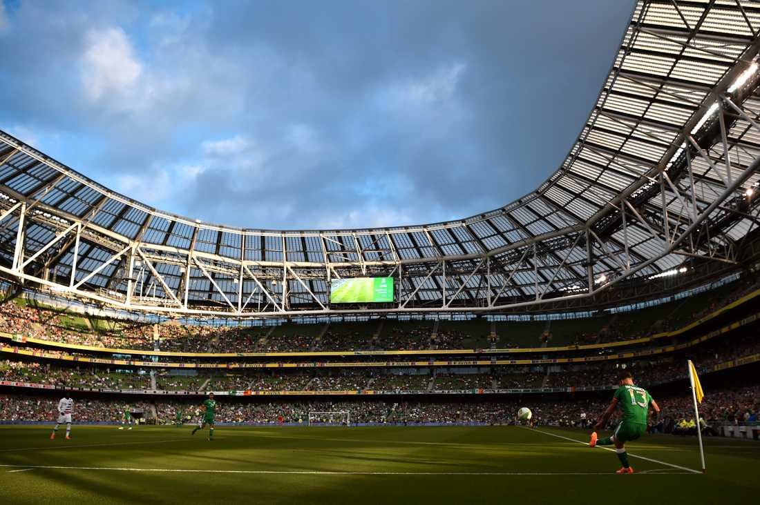 Aviva Stadium, Dublin. Kapacitet: 51 000. Byggår: 2010.