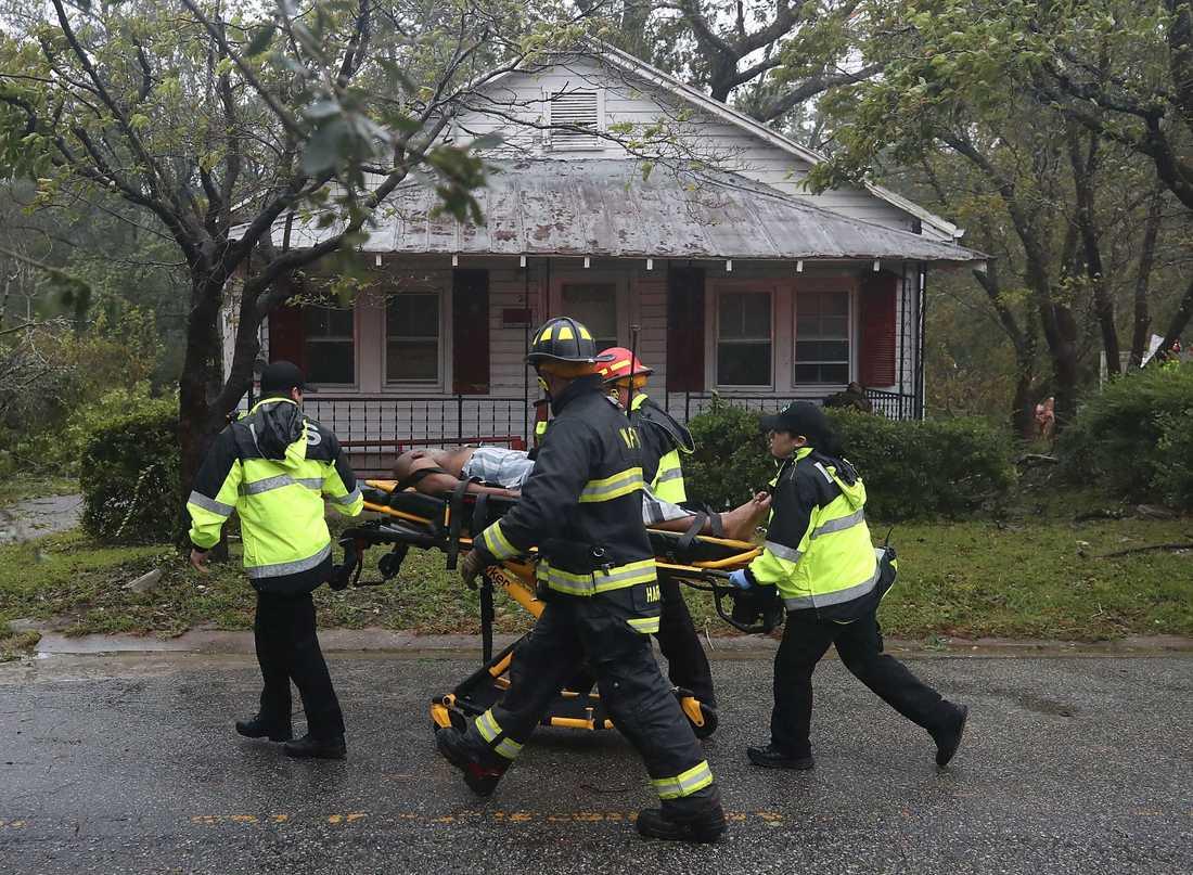 Räddningspersonal hämtar en man från ett hus som ett stort träd fallit på.