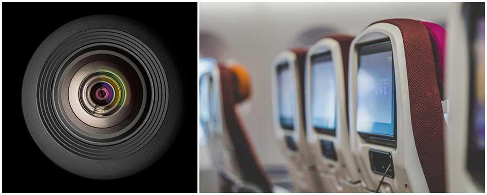 Singapore Airlines har kameror in sina underhållningssystem. Flygplanssätena på bilden kommer inte från Singapore Airlines.