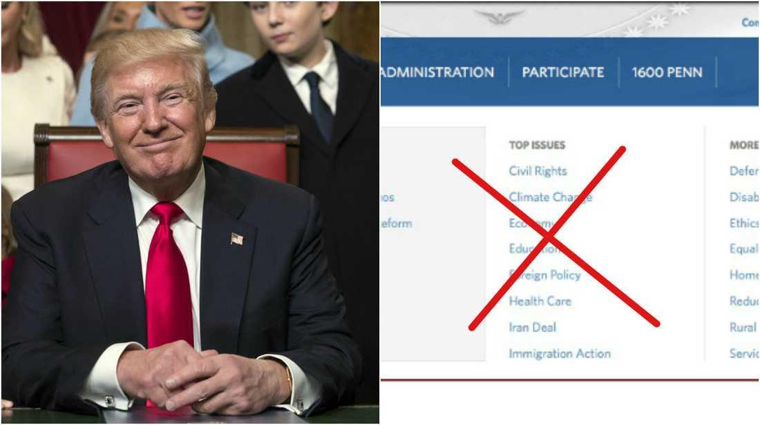 Hemsidan har gått igenom en rad förändringar sedan Trump svors in som president.