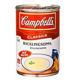 Campbells kycklingsoppa, 295 gram –  innehåller 5,9 gram kyckling det vill säga 2 procent. Den ska spädas. Källa: Råd & Rön
