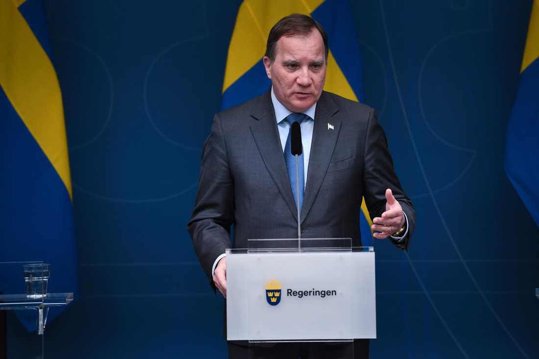 Statsminister Stefan Löfven (S) vid tisdagens pressträff gällande regeringens åtgärder för fortsatt bekämpning av covid-19.