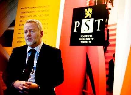 Jörn Holme, chef för norska säkerhetspolisen PST i samband med en presskonferens om hotbilder i Norge 2008.