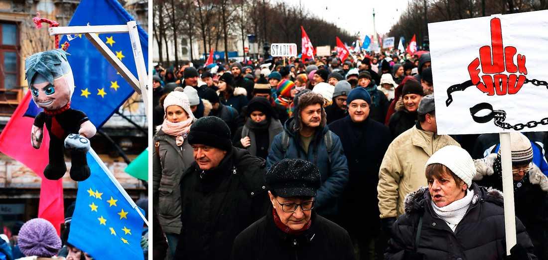 """""""Viktatorn"""" i galgen under demonstrationerna på Budapests gator."""