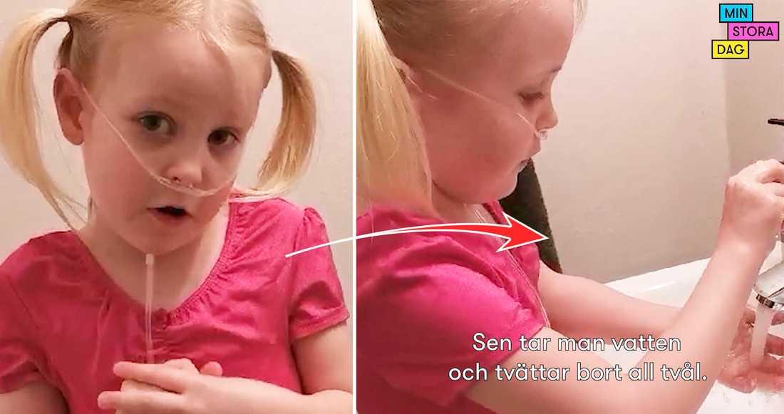 Nova, 6, visar hur man tvättar händerna ordentligt.
