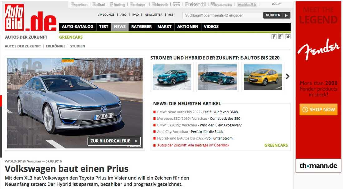 Tyska tidningen Autobild har publiserat bilder på bilen som internt inom VW kallas för XL3. Är tänkt att bli märkets svar på Toyota Prius.