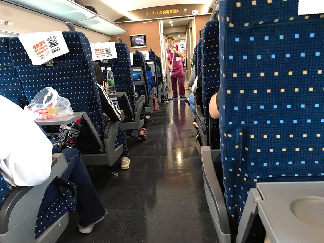 På tåget från Xian till Wuhan i Kina.