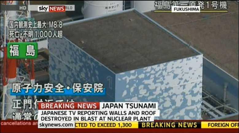 Klockan nio på morgonen inträffade en explosion på Fukushima 1. Vit rök vällde ut och strålningen var 20 gånger högre än normalt.