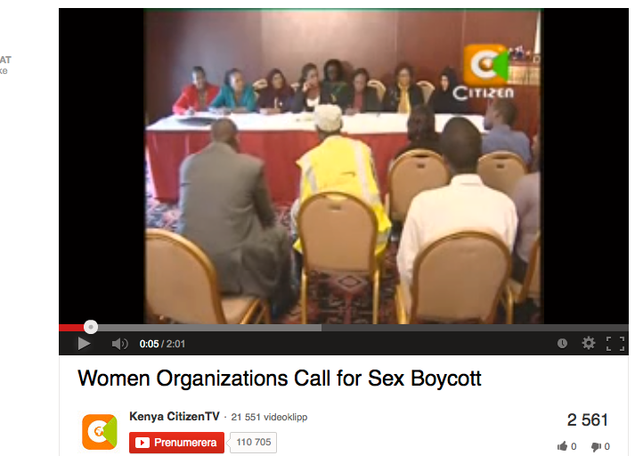 Kenya, 2009 Tusentals kenyanska kvinnor genomförde en veckolång sexstrejk i protest mot oenigheterna mellan presidenten och premiärministern, som orsakade oro och våld bland lokalbefolkningen.  Politikernas fruar uppmanades också till strejk. Det är oklart om de gjorde det, men protesten sågs som startskottet till en dialog.