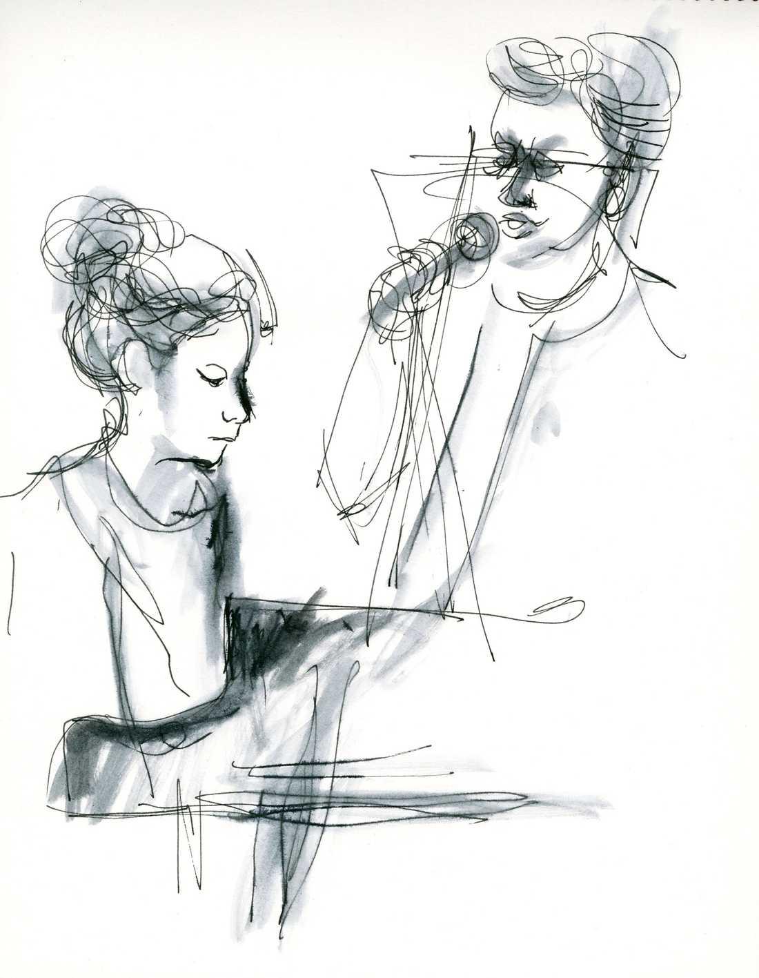 Cecilia Persson och Lina Nyberg tecknade av Jenny Svenberg Bunnel på Stockholm Women's international jazz festival