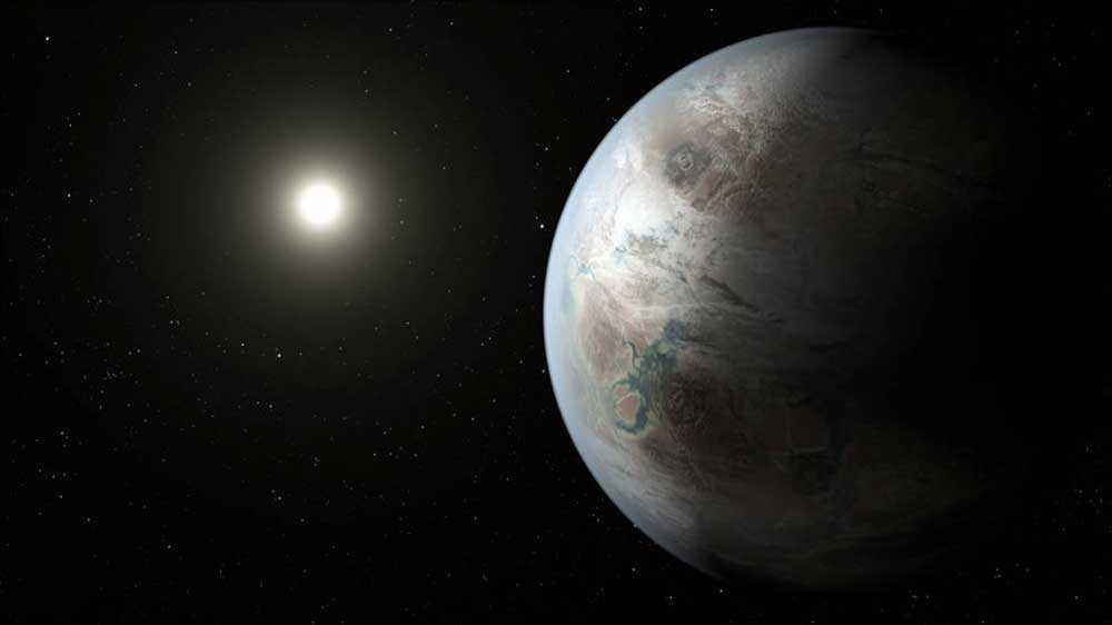 En illustration av det nya planetfyndet Kepler-452b.