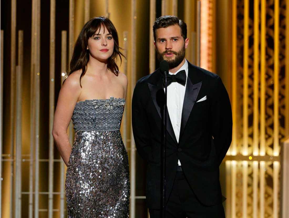 Filmens stjärnor Dakota Johnson och Jamie Dornan.