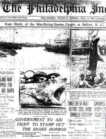 The Philadelphia Inquirer satte hajskräcken i New Jersey 1916 på förstasidan.
