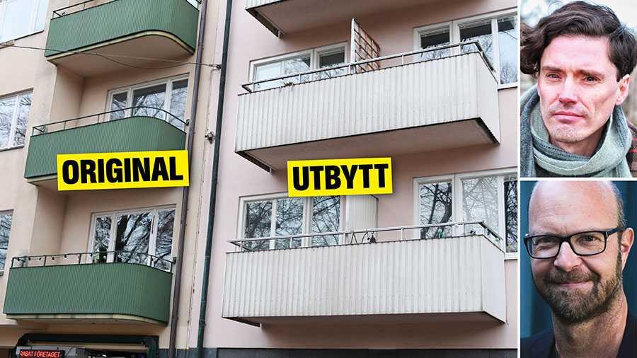 När allmännyttan har renoverat sina fastigheter har originalbalkonger, träportar och fönster med hög kvalitet bytts ut mot nya med kort livslängd, skriver Gustav Bergström och Alfred Skogberg.
