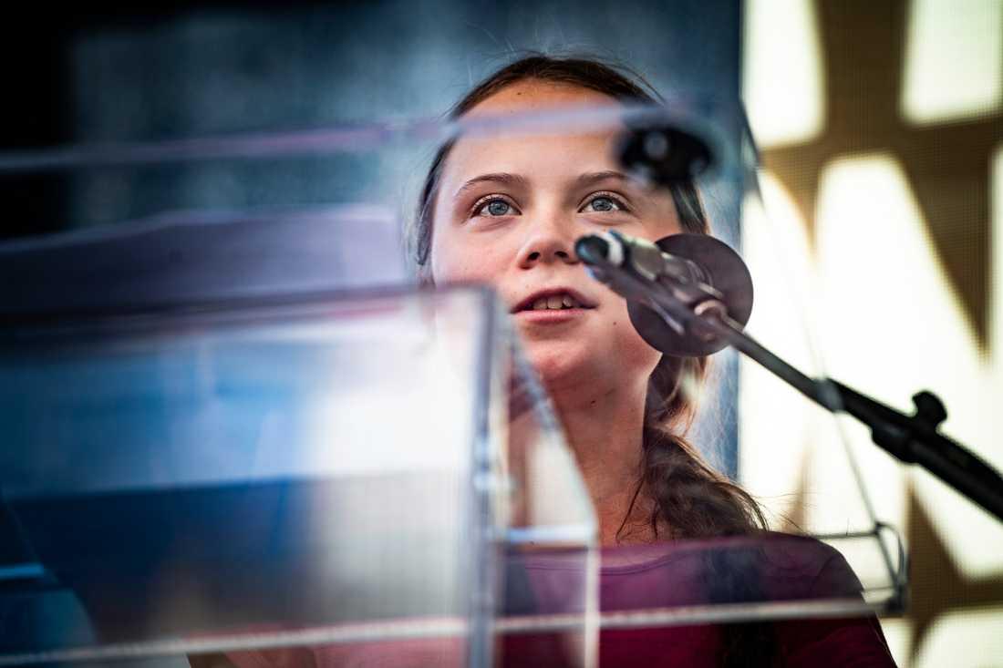 """""""Vi ska se till att makthavarna hör oss"""", sa Greta Thunberg till publiken i Battery park, New York."""