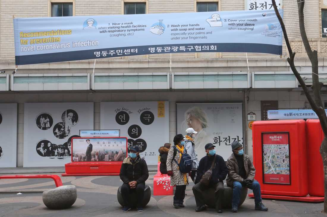 Banderoll i Sydkoreas huvudstad Seoul med rekommendationer om hur människor själva kan förebygga att smittas av viruset.