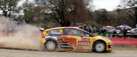 Petter Solberg toppade Rally Mexico efter den första tävlingsdagen.
