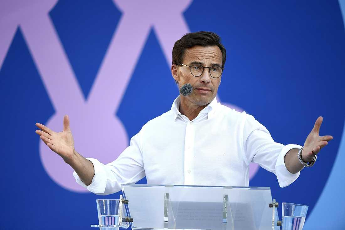 M-ledaren Ulf Kristersson under sitt tal i Almedalen.