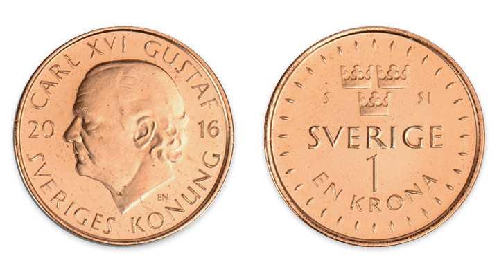 Nya enkronan är i koppar och precis som övriga mynt helt nickelfri. Den är mindre och mycket lättare än dagens.