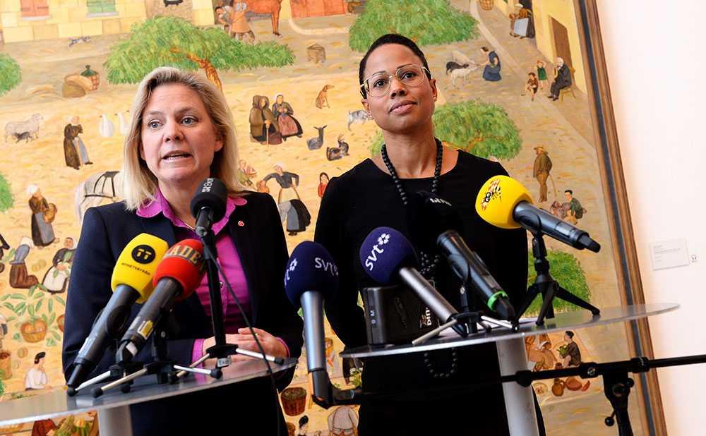 Finansminister Magdalena Andersson (S) och kulturminister Alice Bah Kuhnke (MP) höll sin gemensamma presskonferens på Moderna museet i Stockholm.