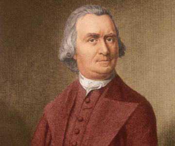 """Samuel Adams var ledare för motståndsrörelsen """"Sons of Liberty"""" och räknas som en av anstiftarna till den amerikanska revolutionen. Adams låg bakom tebjudningen i Boston, då te för 18 000 pund dumpades i hamnen, som en protest mot Storbritanniens höga te-skatter. Händelsen räknas som en av de utlösande faktorerna bakom revolutionen. Adams undertecknade sedan USA:s självständighetsförklaring."""