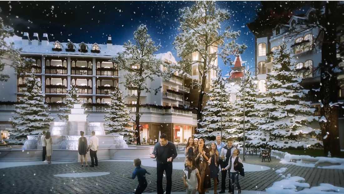 Projektet kommer att ha klimatkontrollerade gator, där det ska kunna båda snöa och regna.