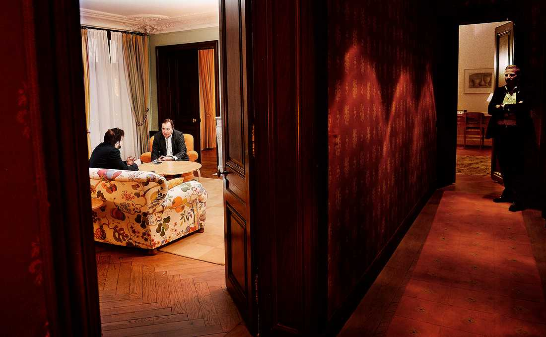 Aftonbladets Mattias Sandberg träffade statsminister Stefan Löfven exklusivt i hans nya bostad Sagerska huset. Nu är det klart att han ska bo här – i minst fyra år.