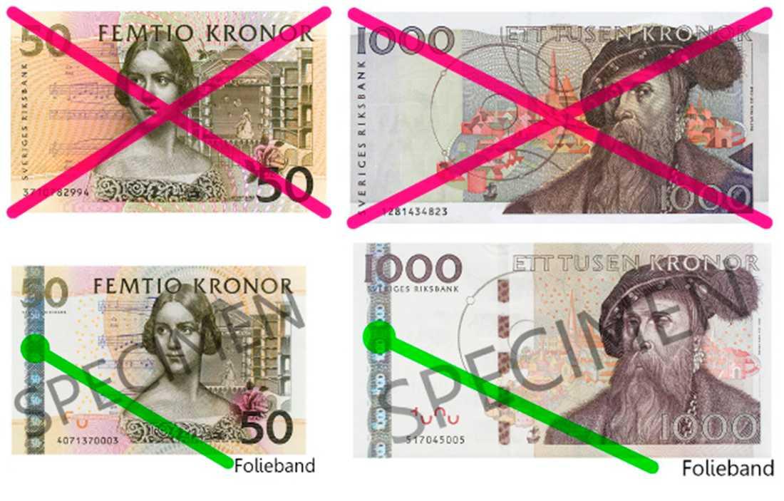50- och 1 000-kronorssedlar utan folieband blir ogiltiga från årsskiftet. Men bara två tredjedelar av de gamla sedlarna har hittills kommit in till Riksbanken.