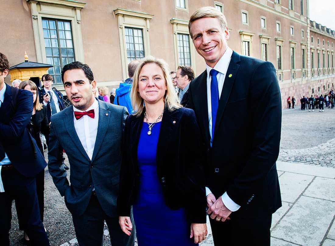 Civilminister Ardalan Shekarabi, finansminister Magdalena Andersson och finansmarknads- och konsumentminister Per Bolund.