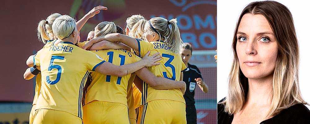Svenskt jubel efter mål mot Ryssland i EM 2017 i Nederländerna. Matchen slutade 2–0.