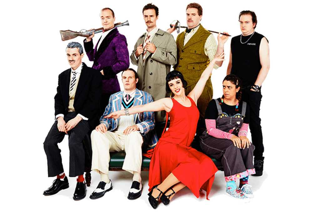 "Ensemble från Broadway-uppsättning av ""The play that goes wrong""."