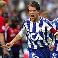Lämnar för Turkiet Blåvitts backbjässe Fredrik Risp jublar efter sitt 1-0-mål mot Örgryte förra veckan. Härnäst väntar den turkiska ligan.