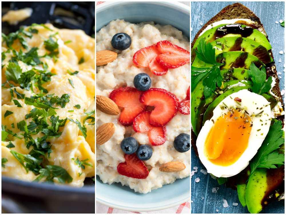 Äggröra, lyxig gröt och läcker avokadomacka med ägg.