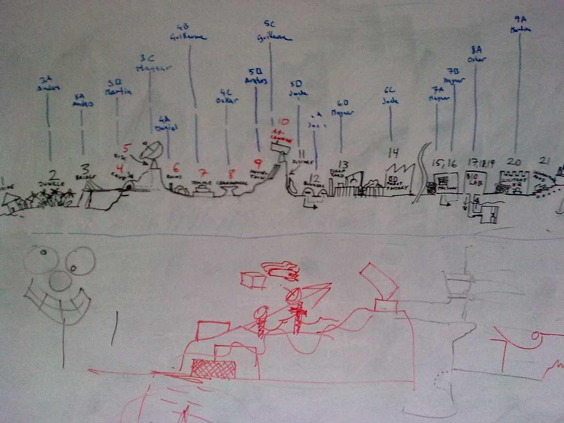 """Hösten 2009 Grin hade lämnat lokalerna men glömt sudda ut hemliga skisser för spelet """"Bionic commando rearmed 2""""."""