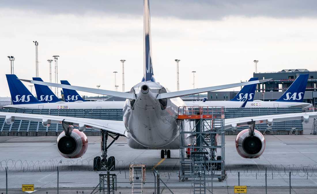 Även på söndagen stod SAS-planen parkerade på Kastrup i Köpenhamn.