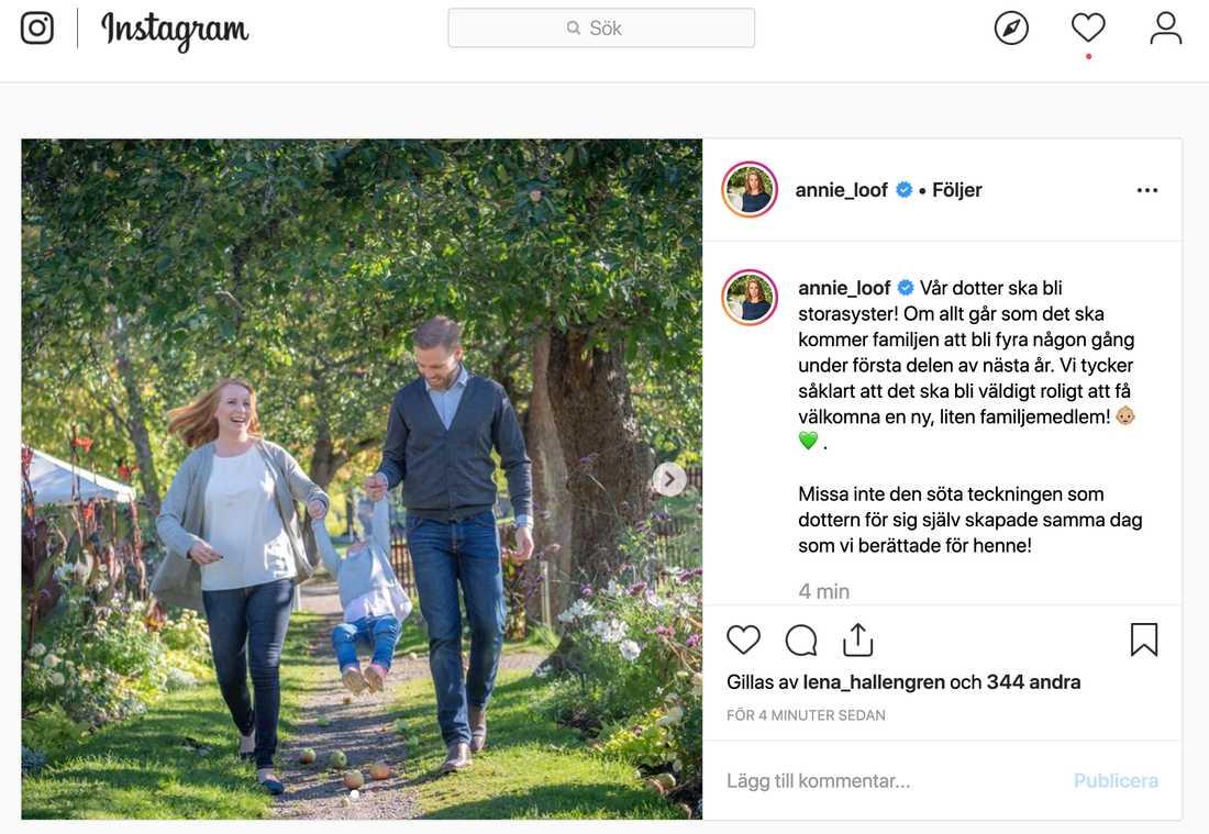 Annie Lööf avslöjade graviditeten på Instagram.