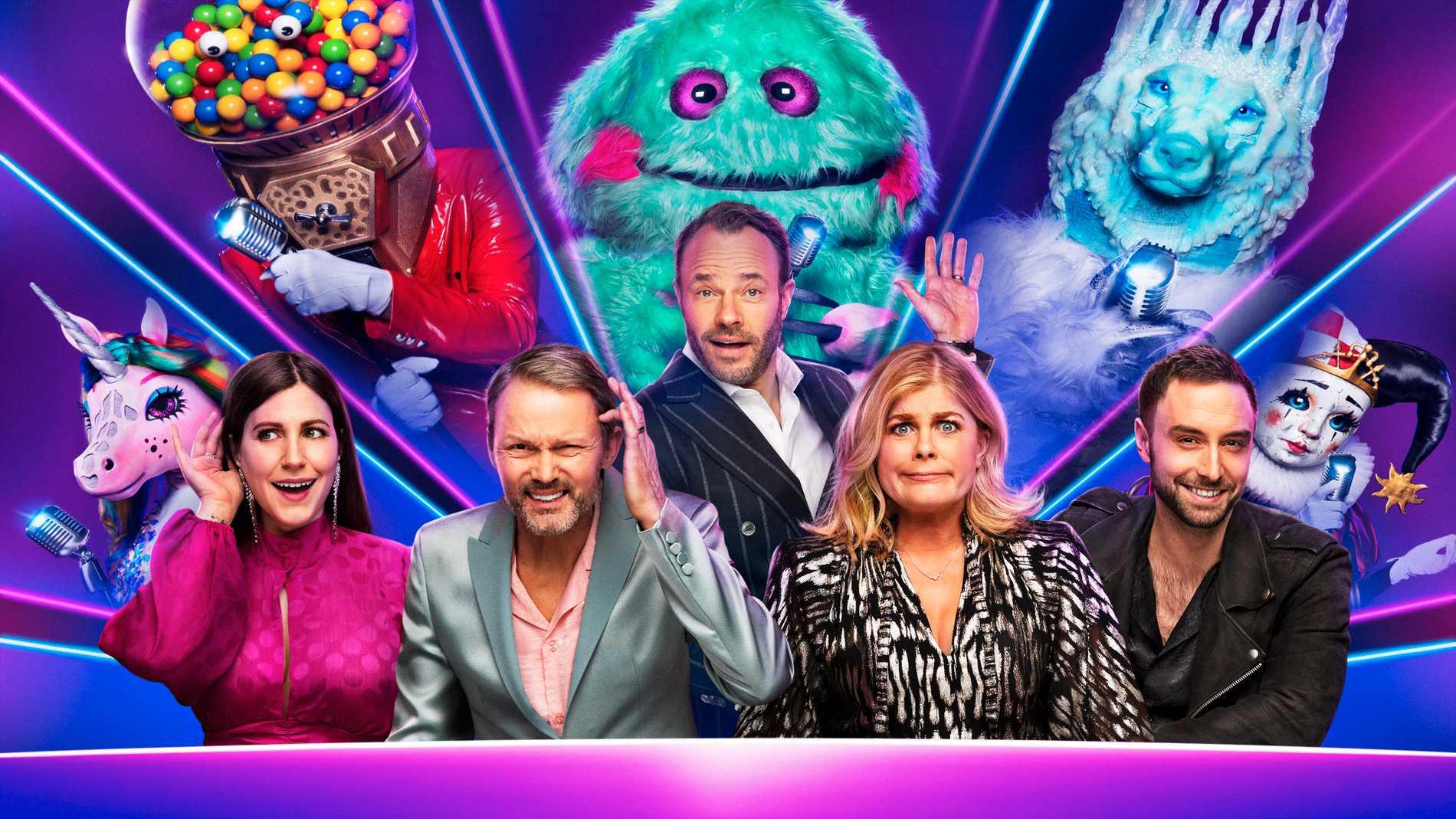 """David Hellenius leder """"Masked singer"""" och panelen består av Felix Herngren, Nour El-Refai, Måns Zelmerlöw och Pernilla Wahlgren."""