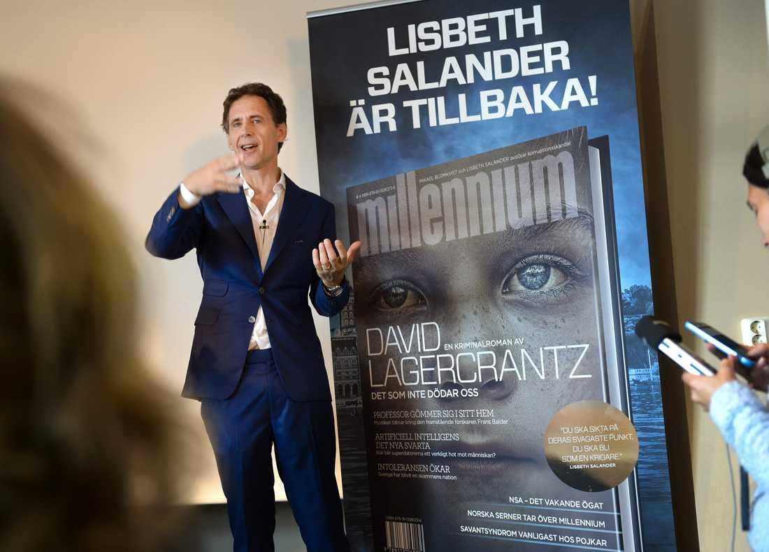 David Lagercrantz under lanseringen av den fjärde Millennium-boken.