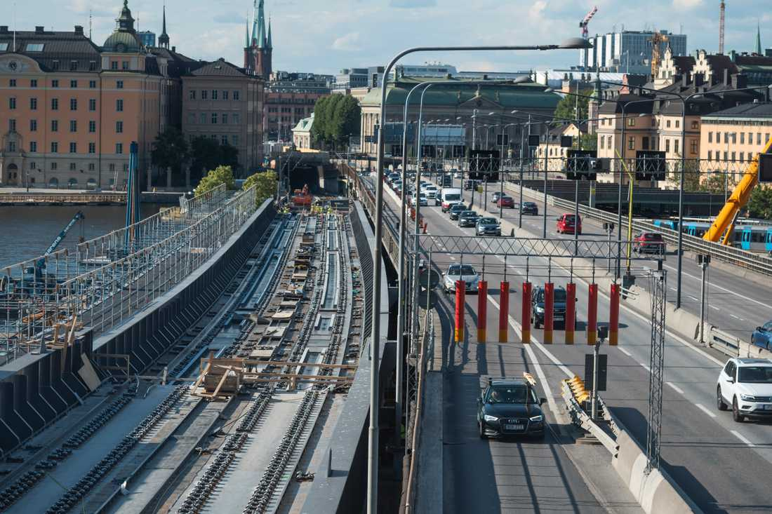 Den så kallade getingmidjan i Stockholm under förra sommarens arbete. I sommar stängs den av för sista gången. Arkivbild.