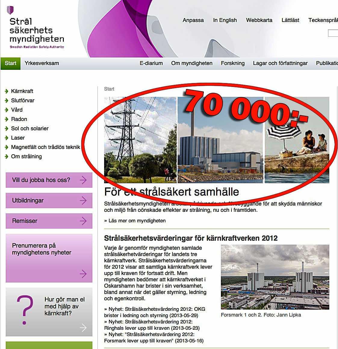 Dyr investering  Strålsäkerhetsmyndighetens hemsida pryds nu av foton på kärnkraftverk. Bilduppdraget gick till byrån Intellecta Corporate, som tog 70243 kronor för totalt sex bilder.