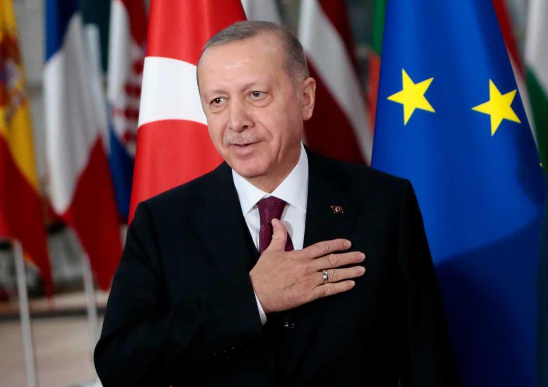 Recep Tayyip Erdogan. Bild tagen vid hans besök i Bryssel häromdagen.