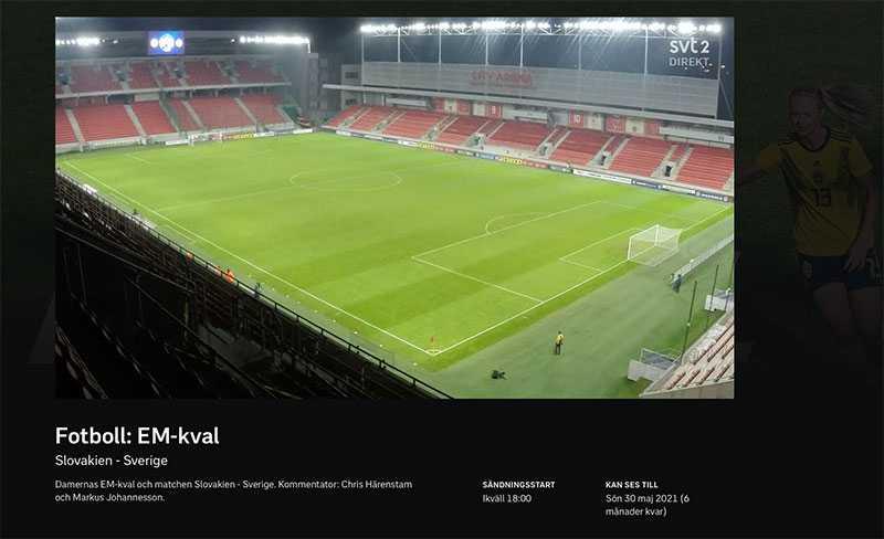 SVT:s sändning under början av matchen.