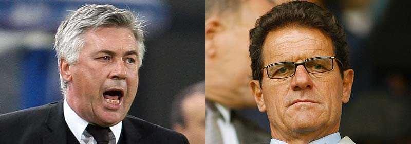 Carlo Ancelotti (t.v) var missnöjd med Fabio Capello i Milan.