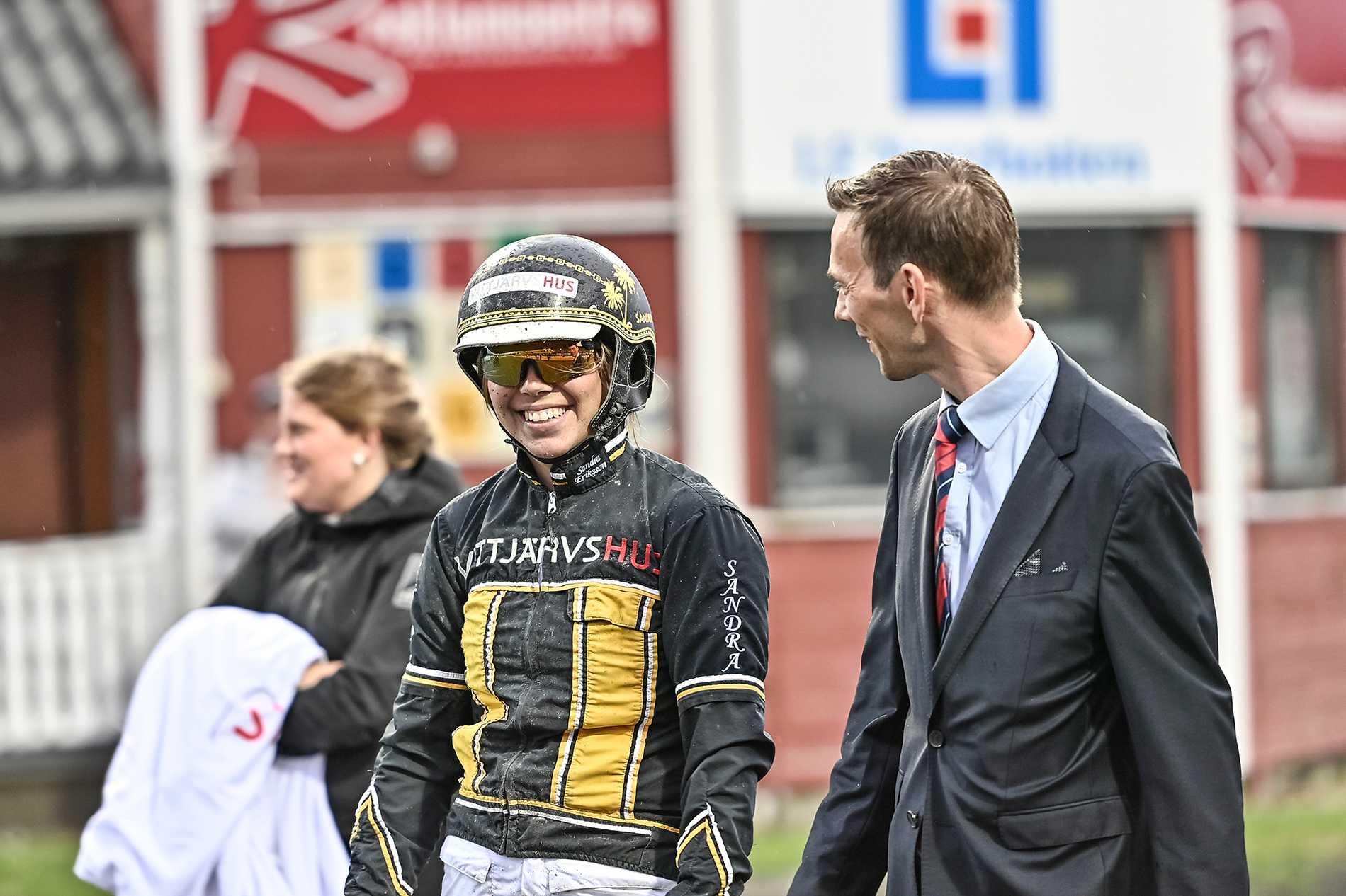 Sandra Eriksson tillsammans med Bodenstravets David Zimmer.