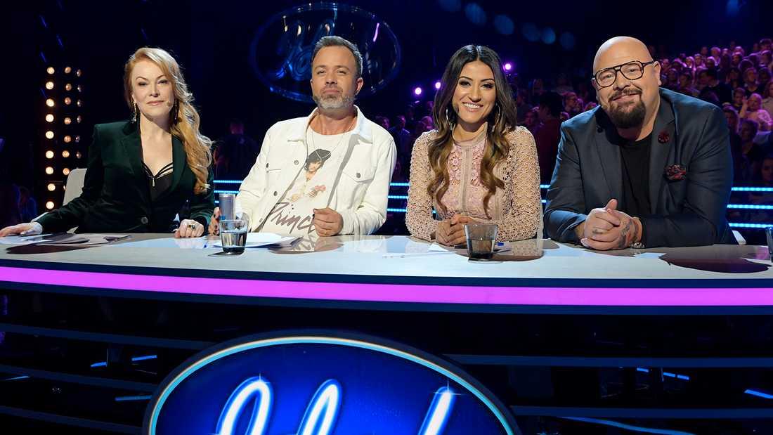 """""""Idol""""-juryn, från vänster Kishti, Alexander, Nikki och Anders."""