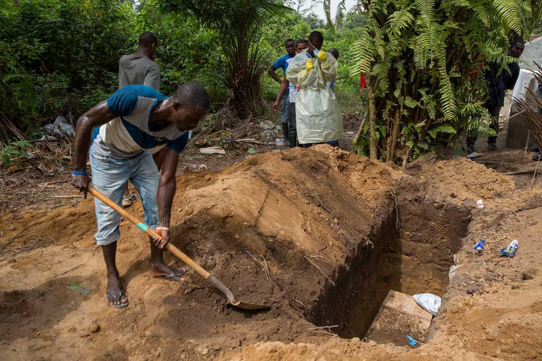 Rendall marshall, 21, är dödgrävare. Minst sju fot djup måste gravarna för de misstänkta ebolafallen vara. Tidigare brändes alla kroppar i Monrovia, men eftersom kremering strider mot liberiansk tradition ledde det till att anhöriga gömde undan kropparna, och begravde dem själva.