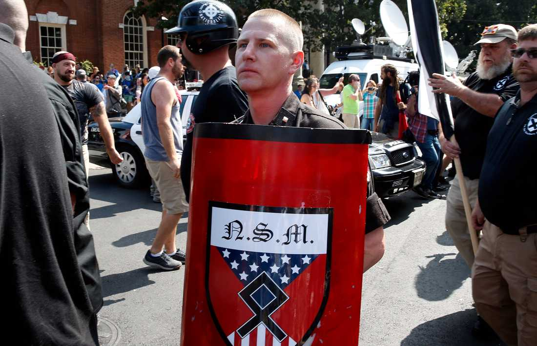 Vit makt-demonstrant i Charlottesville.